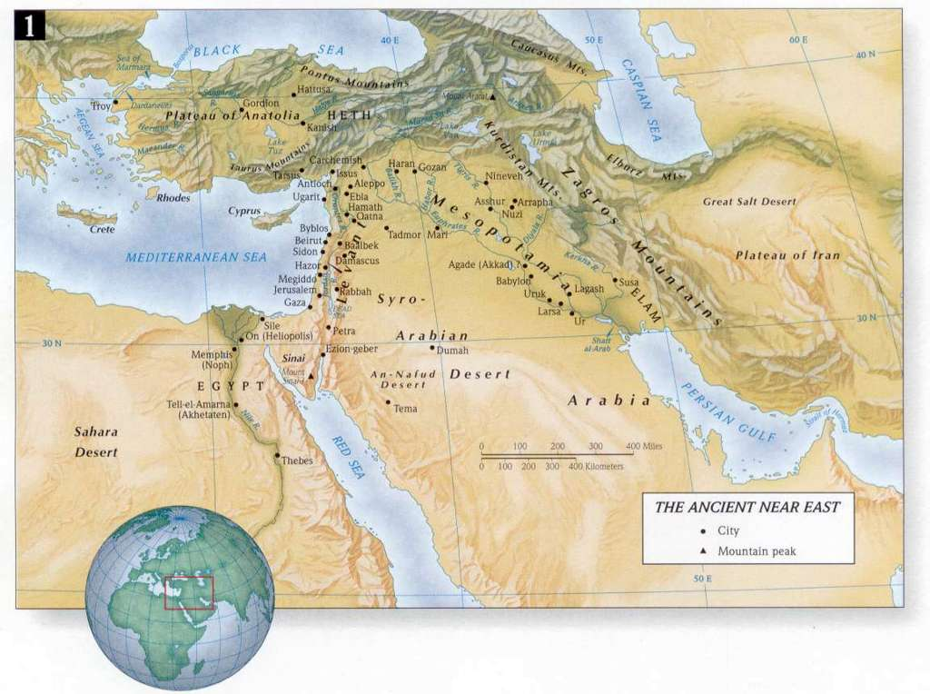 Ancient Near East Map in Old Testament Bible