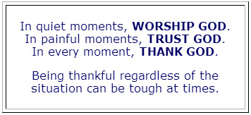 Worship, Trust and Thank God
